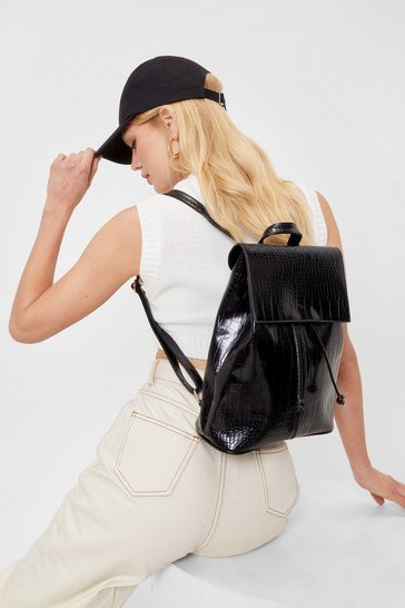 Black WANT Croc Patent Faux Leather Backpack