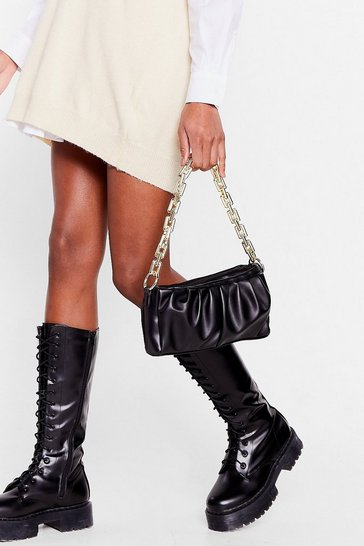 Black WANT Faux Leather Slouchy Chain Shoulder Bag