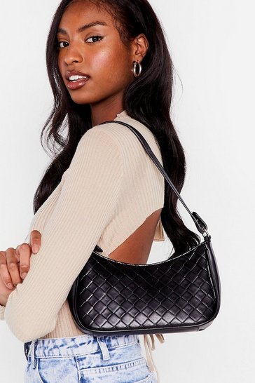 Black WANT Woven Faux Leather Crossbody Bag
