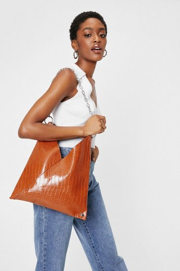 Tan WANT Croc Chain Faux Leather Tote Bag