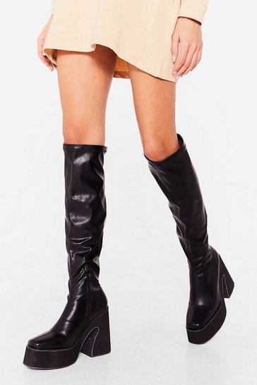 Black Are You Up to It Platform Over-the-Knee Boots