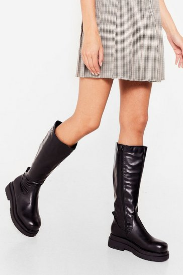 Black Chunky Knee High Faux Leather Boots