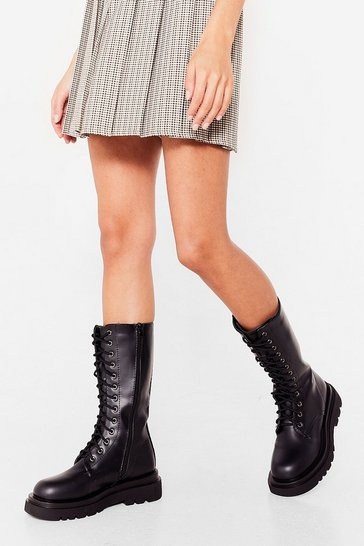 Black Step Up Your Game Faux Leather Biker Boots