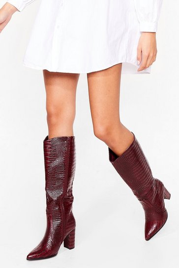 Burgundy Crocodile Rockin' Block Heel Knee High Boots