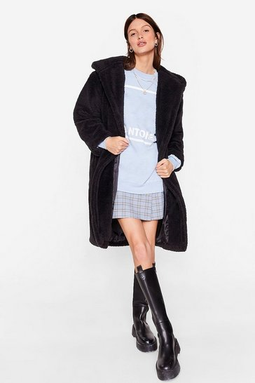Black Teddy Steady Go Faux Fur Longline Coat