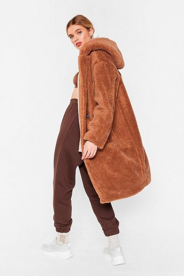 Camel Teddy Steady Go Faux Fur Longline Coat