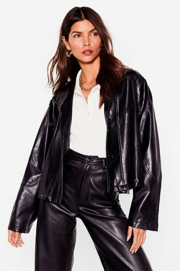 Black Into the Swing of Things Faux Leather Jacket