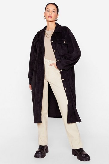 Black Come a Longline Oversized Shirt Jacket