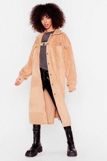 Camel Come a Longline Oversized Shirt Jacket