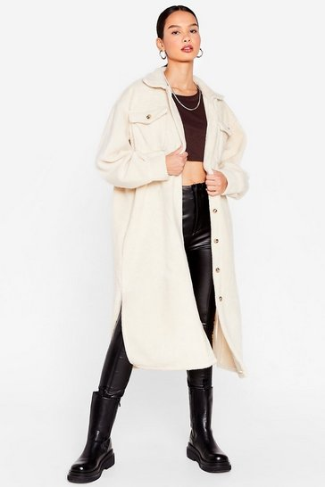 Stone Oversized Brushed Wool Longline Shacket