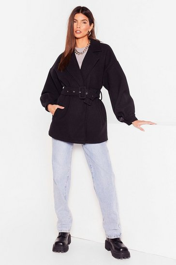 Black Oversized Balloon Sleeve Belted Jacket