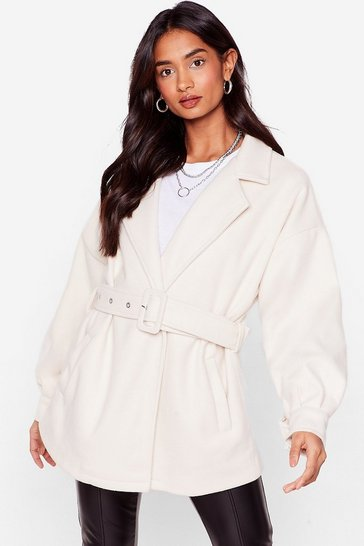 Cream This Ain't Over-sized Belted Jacket