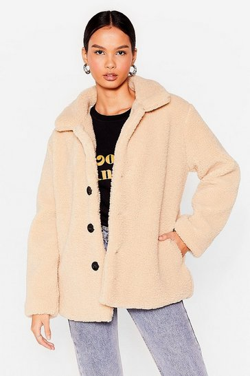 Beige Changing of the Seasons Faux Shearling Relaxed Coat