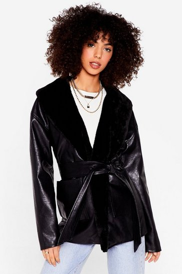 Black Faux Fur Belted Faux Leather Jacket
