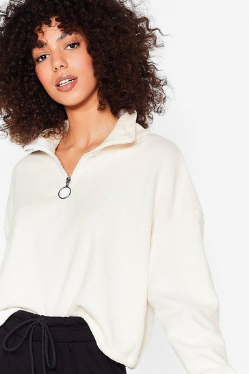 Cream O-Ring Our Praises High Neck Cropped Sweatshirt