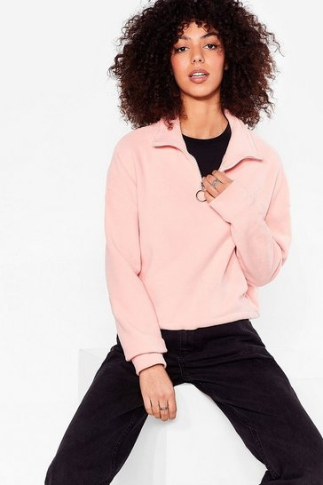 Peach Let It O-Ring Cropped High Neck Sweatshirt