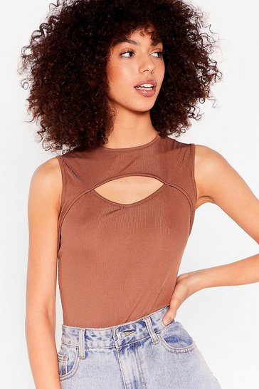 Chocolate Pour Your Heart Cut-Out Ribbed Bodysuit