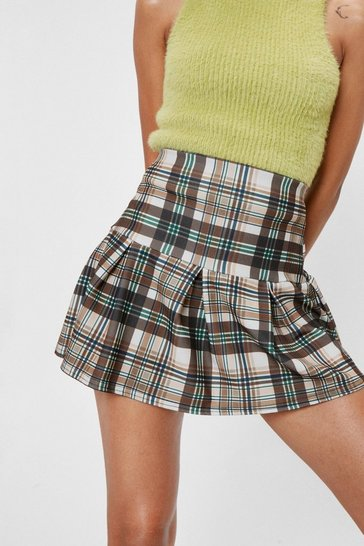 Stone Act Clueless Pleated Check Skirt