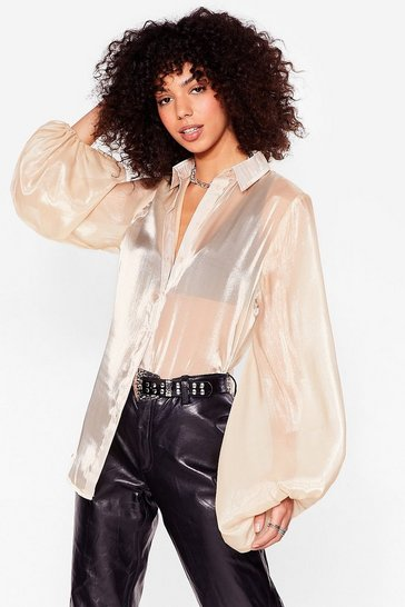 Cream Sleeve It to 'Em High Shine Relaxed Blouse