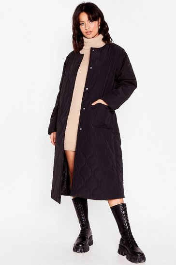 Black Think Long and Hard Quilted Longline Coat