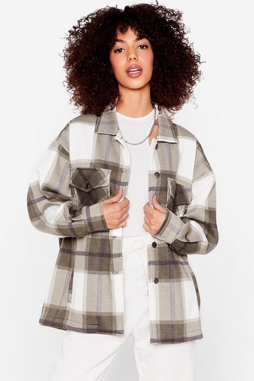 Green Check Button Down Oversized Shacket