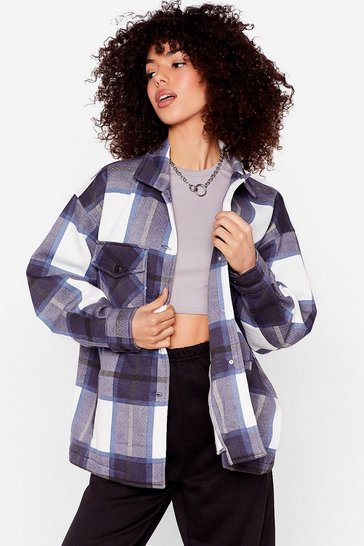 Navy Bring the Check Please Oversized Shirt Jacket