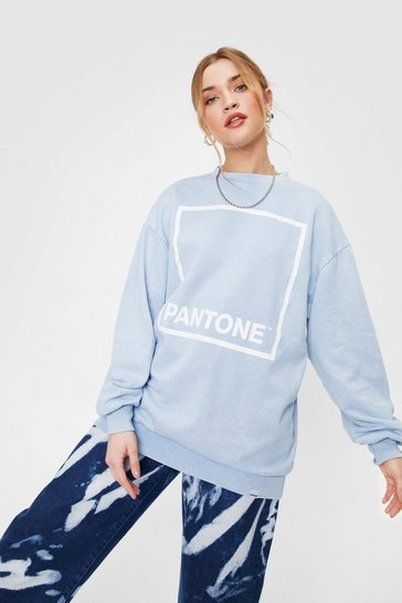 Blue Pantone Graphic Crew Neck Sweatshirt