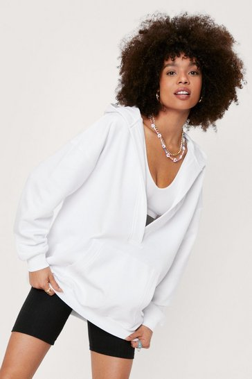 White Oversized V Neck Long Sleeve Hoodie
