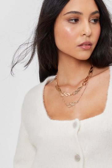 Gold New Flame Layered Choker Necklace
