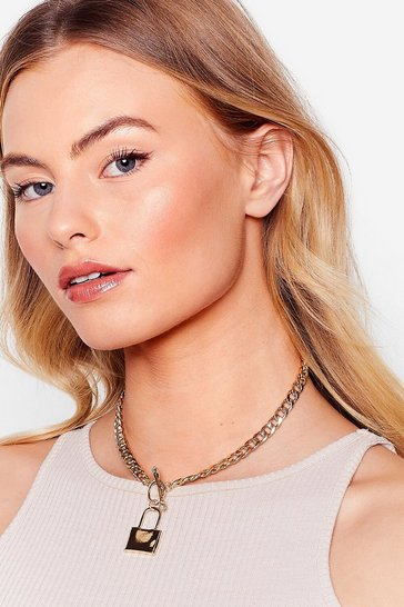 Gold Padlock It Down Pendant Chain Necklace