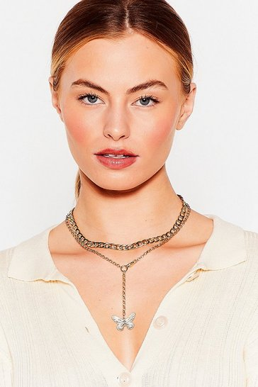 Gold Sparks Will Butterfly Layered Chain Necklace
