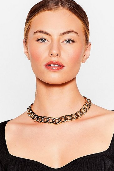 Gold My Mind's Made Up Curb Chain Necklace