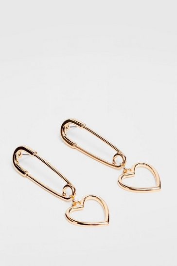 Gold Safety Pin You Down Heart Drop Earrings