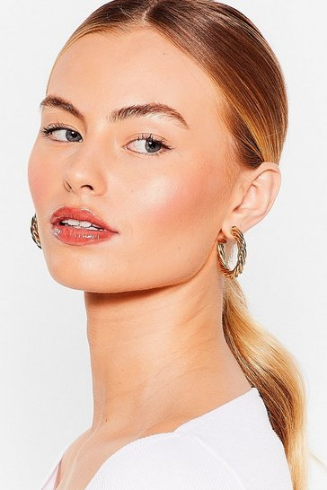 Silver Quit Twisting Our Words Hoop Earrings