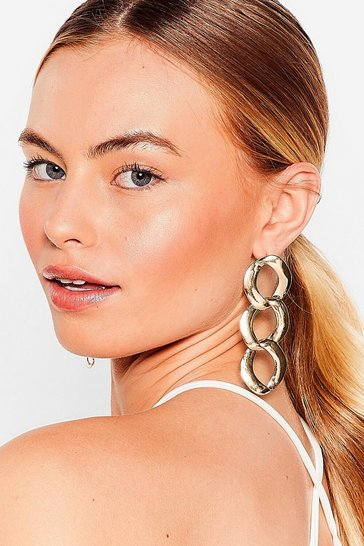 Gold Curb the Attitude Chain Drop Earrings