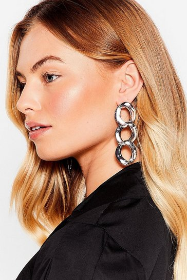 Silver Curb the Attitude Chain Drop Earrings