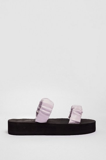 Lilac Faux Leather Ruched Moulded Footbed Platform Mules