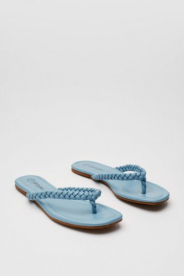 Light blue Faux Leather Woven Toe Strap Sandals