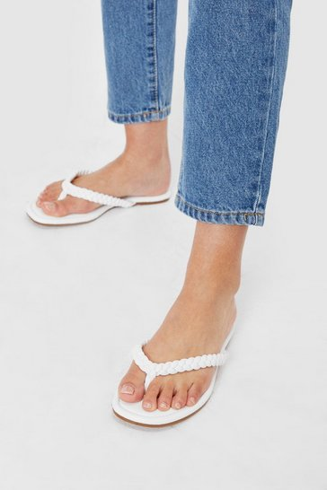 White Faux Leather Woven Toe Strap Sandals