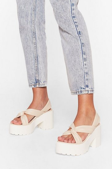 Cream Faux Leather Twist Strap Platform Sandals