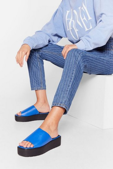 Blue Faux Leather Open Toe Platform Mules