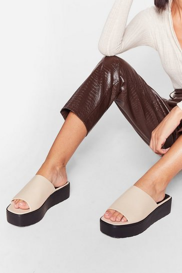 Cream Faux Leather Open Toe Platform Mules