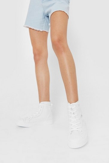 White Canvas Contrast Stitch High Top Sneakers