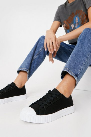 Black Canvas Ribbed Sole Lace Up Sneakers