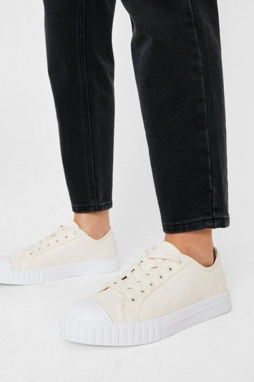 Cream Canvas Ribbed Sole Lace Up Sneakers