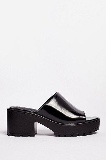 Black Let Love Mule Cleated Chunky Mules