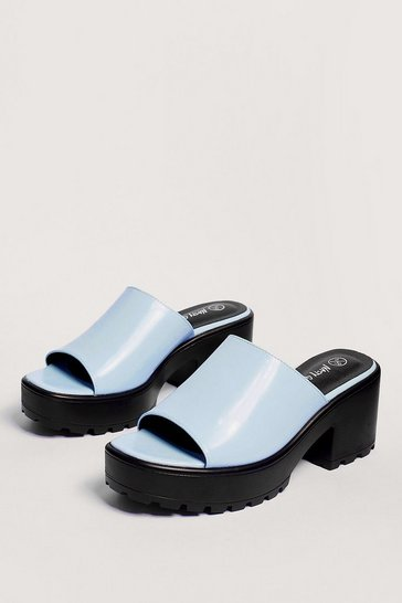 Light blue Let Love Mule Cleated Chunky Mules