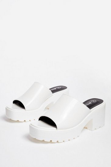 White Let Love Mule Cleated Chunky Mules
