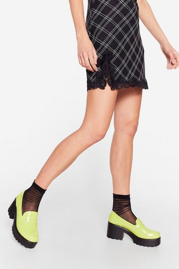 Lime Patent Faux Leather Cleated Heeled Loafers