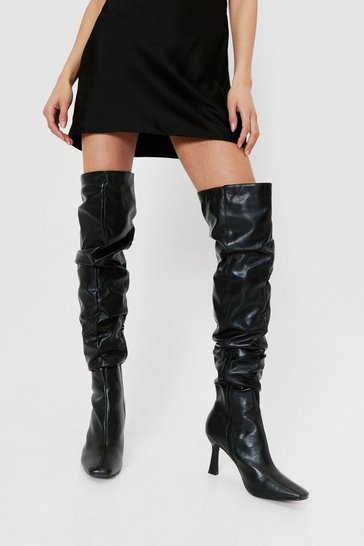 Black Ask Me Thigh High Slouchy Heeled Boots